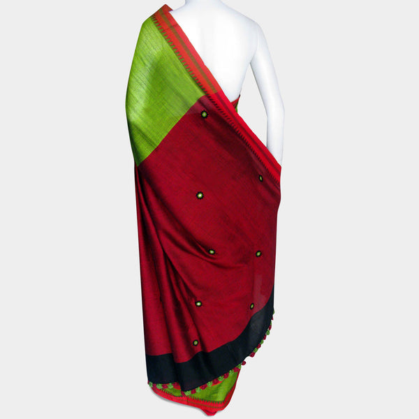 Green & Maroon Handwoven Cotton Sari