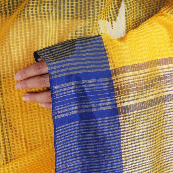 Handloom Yellow Blue Border Jaal Resham Cotton Noil Saree