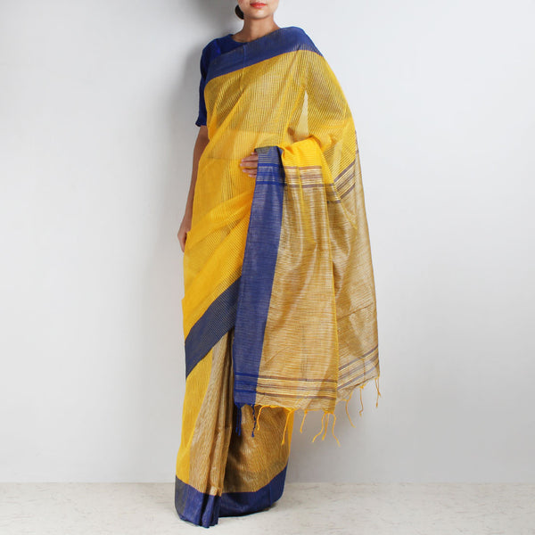Handloom Yellow Blue Border Jaal Resham Cotton Noil Saree by Moh!
