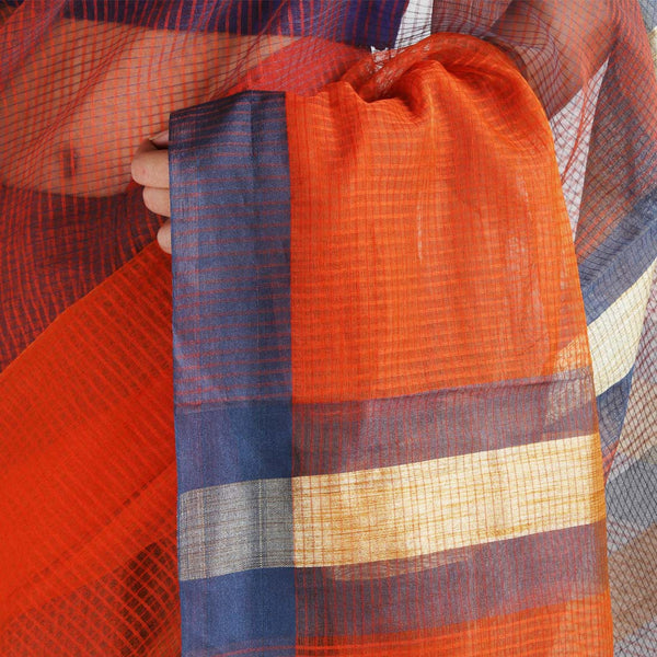 Handloom Orange Grey Border Jaal Resham Cotton Noil Saree