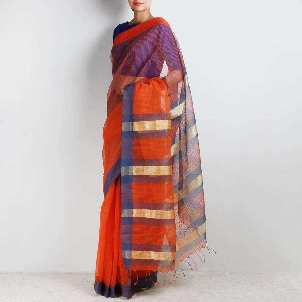 Handloom Orange Grey Border Jaal Resham Cotton Noil Saree by Moh!