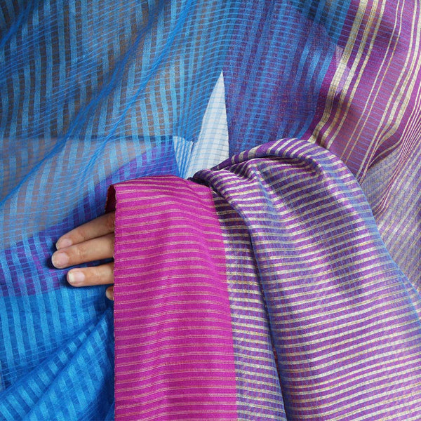 Handloom Blue Mauve Border Jaal Resham Cotton Noil Saree
