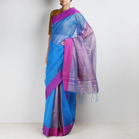 Handloom Blue Mauve Border Jaal Resham Cotton Noil Saree by Moh!