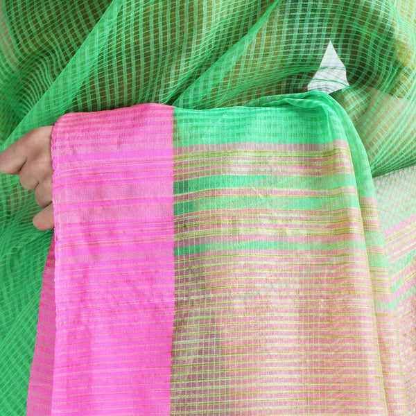 Handloom Green Pink Border Jaal Resham Cotton Noil Saree