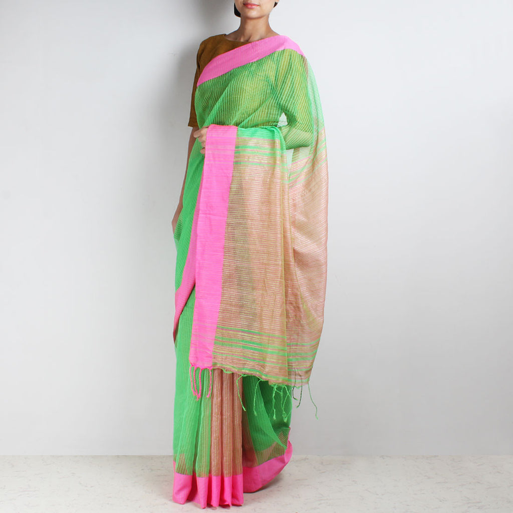 Handloom Green Pink Border Jaal Resham Cotton Noil Saree by Moh!