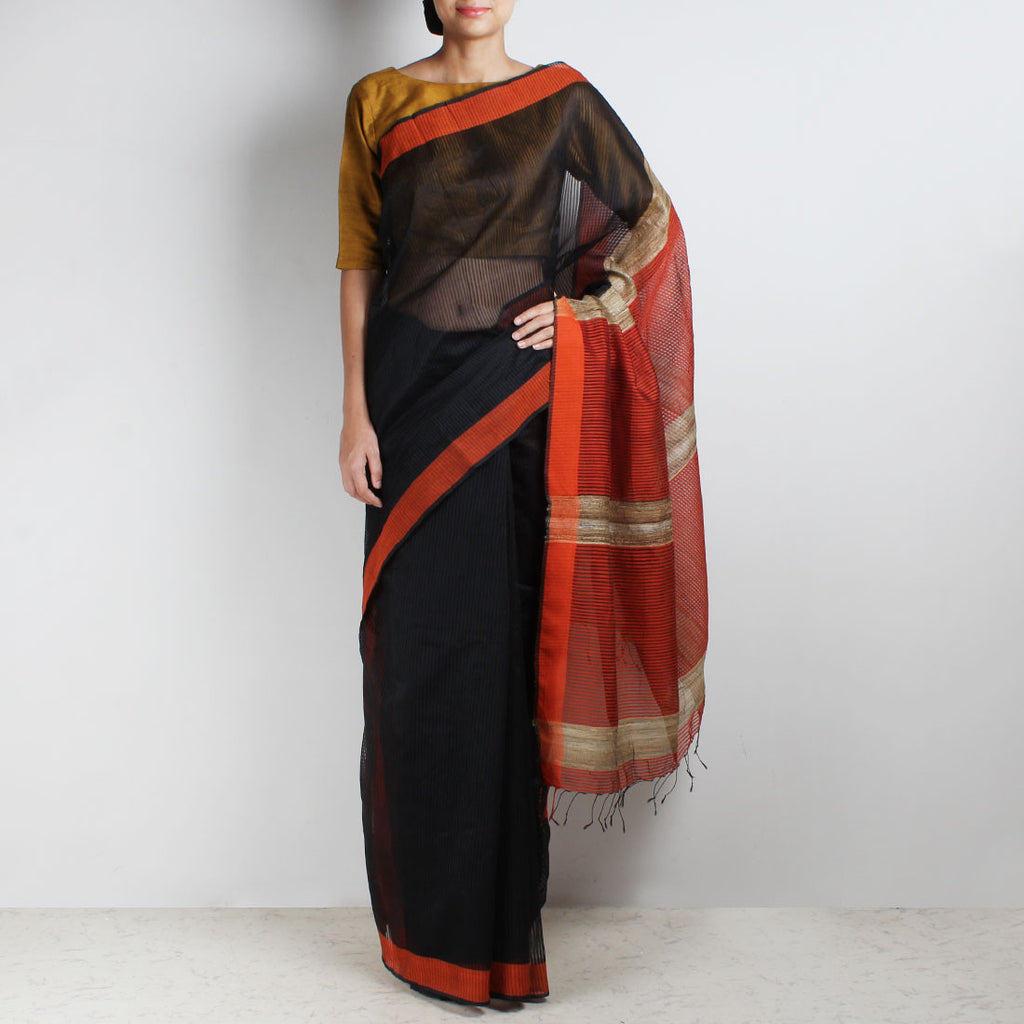 Handloom Black Orange Border Noil Resham Cotton Noil Saree by Moh!