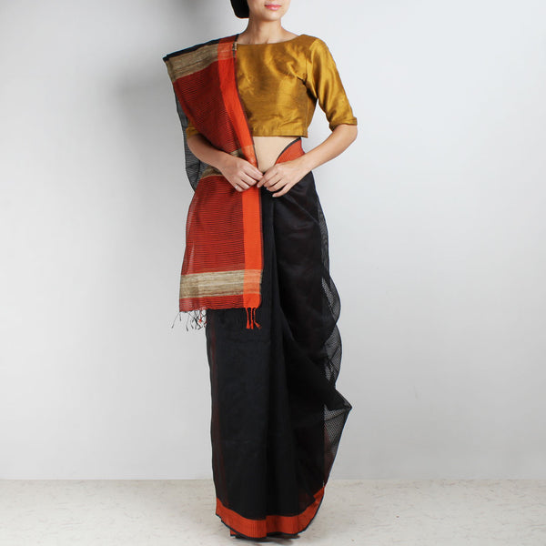 Handloom Black Orange Border Noil Resham Cotton Noil Saree