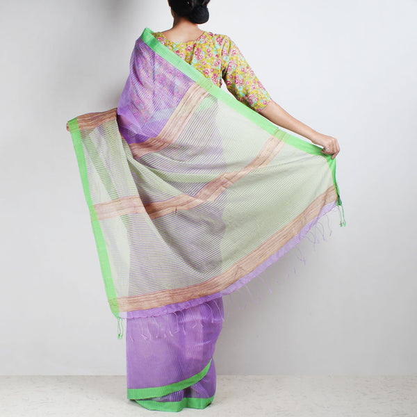 Handloom Mauve Green Border Noil Resham Cotton Noil Saree