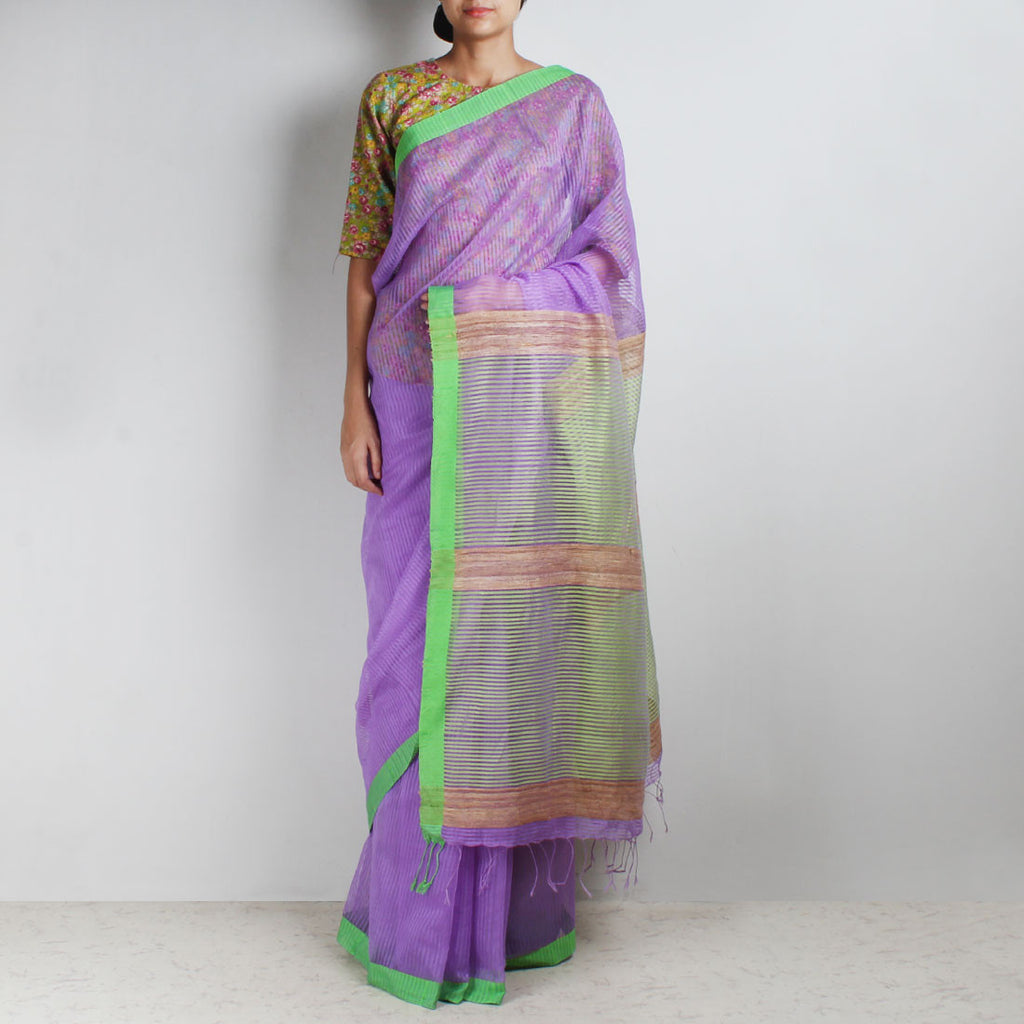 Handloom Mauve Green Border Noil Resham Cotton Noil Saree by Moh!