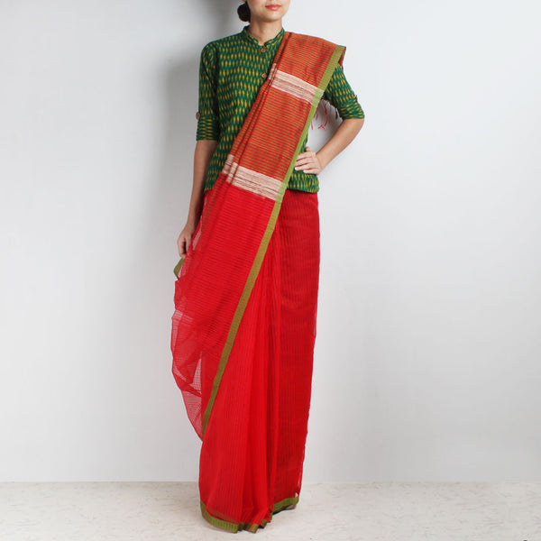 Handloom Red Green Border Noil Resham Cotton Noil Saree