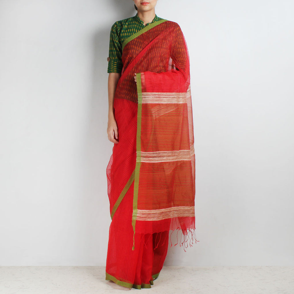 Handloom Red Green Border Noil Resham Cotton Noil Saree by Moh!