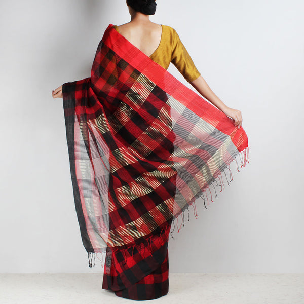Handloom Red & Black Chequered Resham Cotton Noil Saree