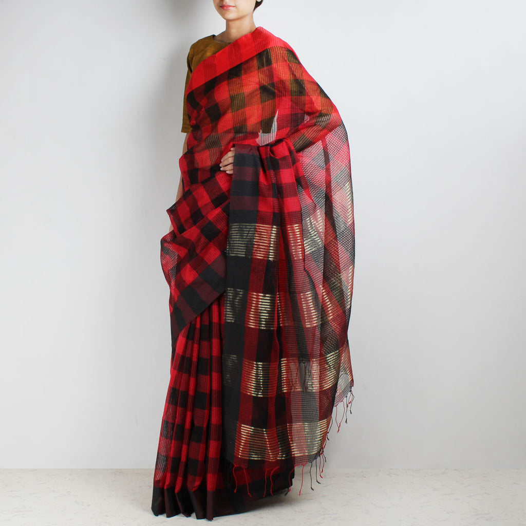 Handloom Red & Black Chequered Resham Cotton Noil Saree by Moh!
