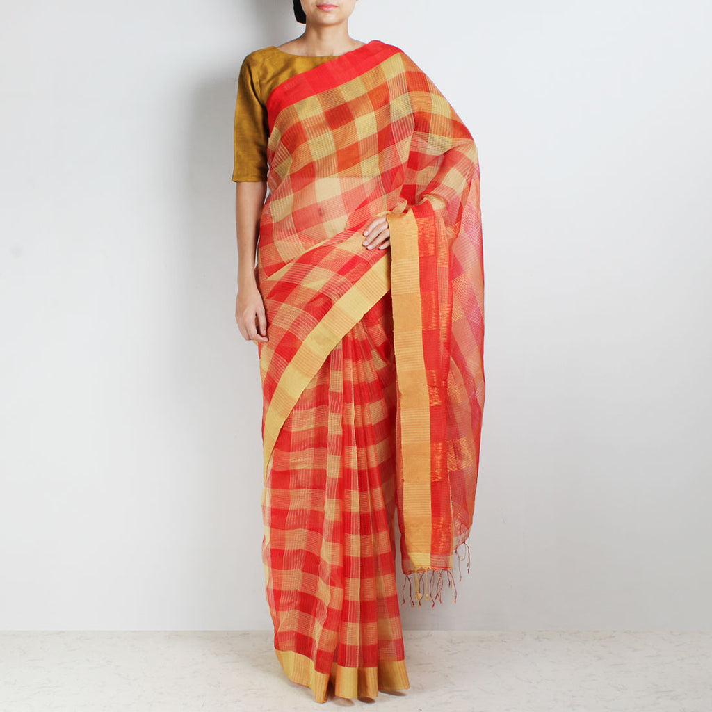 Handloom Red & Biscuit Check Resham Cotton Noil Saree by Moh!