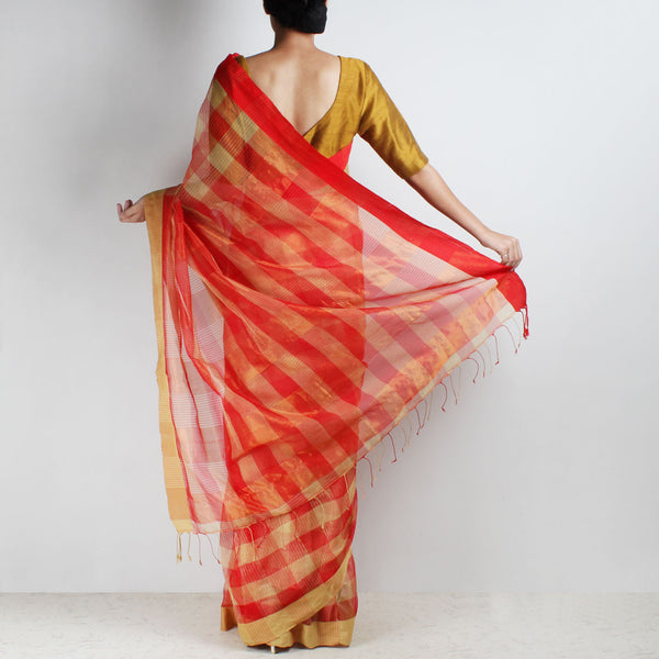 Handloom Red & Biscuit Check Resham Cotton Noil Saree