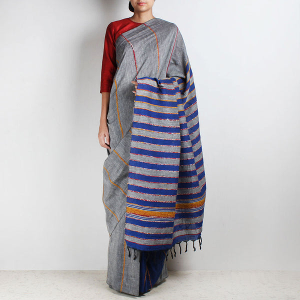 Handloom Blue-Grey Khesh Cotton Saree by Moh!
