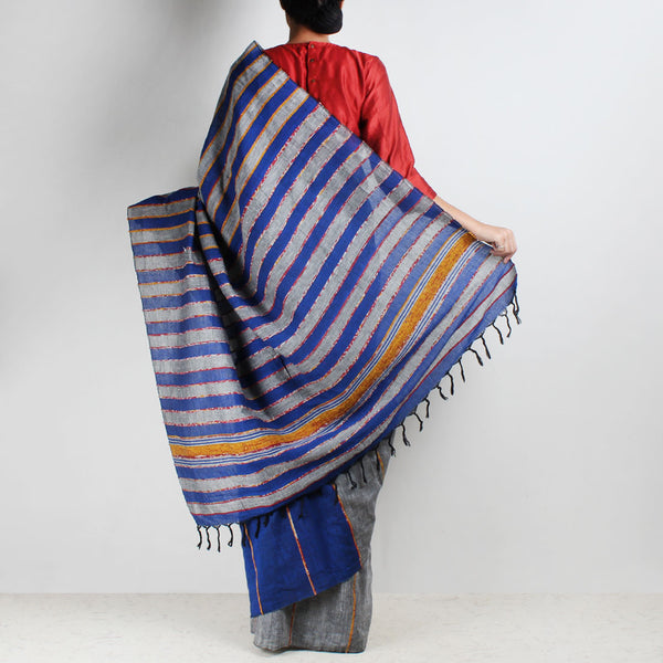 Handloom Blue-Grey Khesh Cotton Saree
