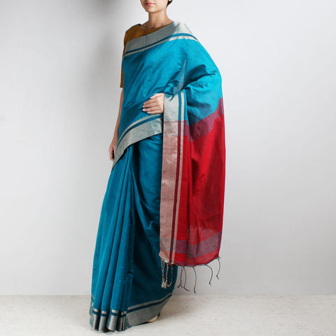Handloom Blue & Red Border Cotton Saree by Moh!