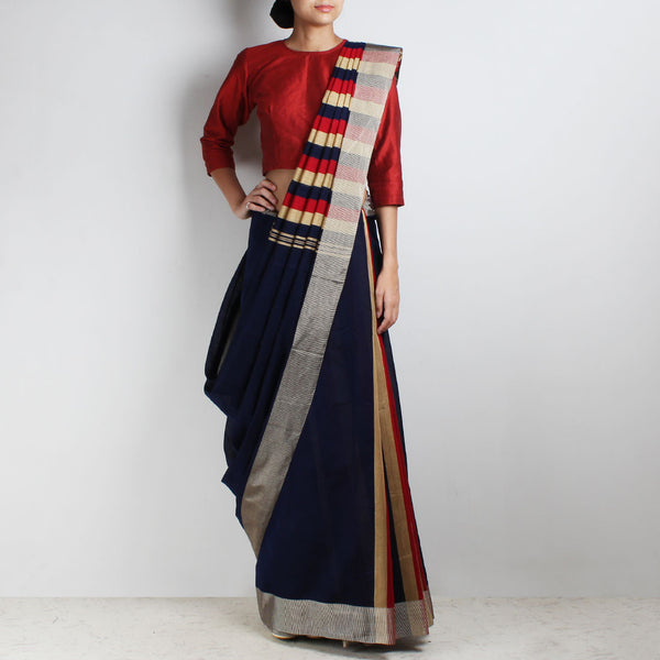 Handloom Navy Blue Patlipallu Cotton Saree