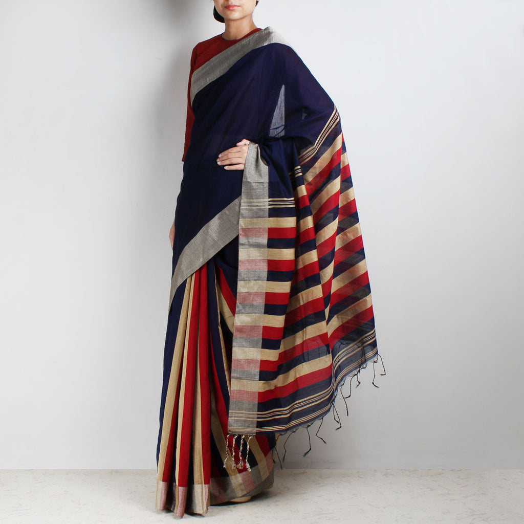 Handloom Navy Blue Patlipallu Cotton Saree by Moh!