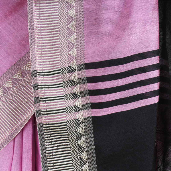 Handloom Onion Pink & Black Border Cotton Saree