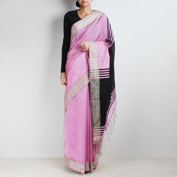 Handloom Onion Pink & Black Border Cotton Saree by Moh!