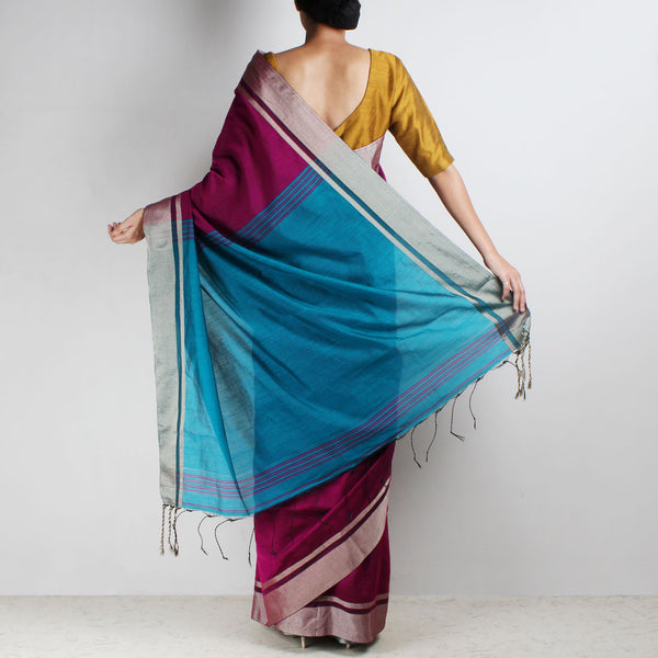 Handloom Magenta & Turquoise Border Cotton Saree