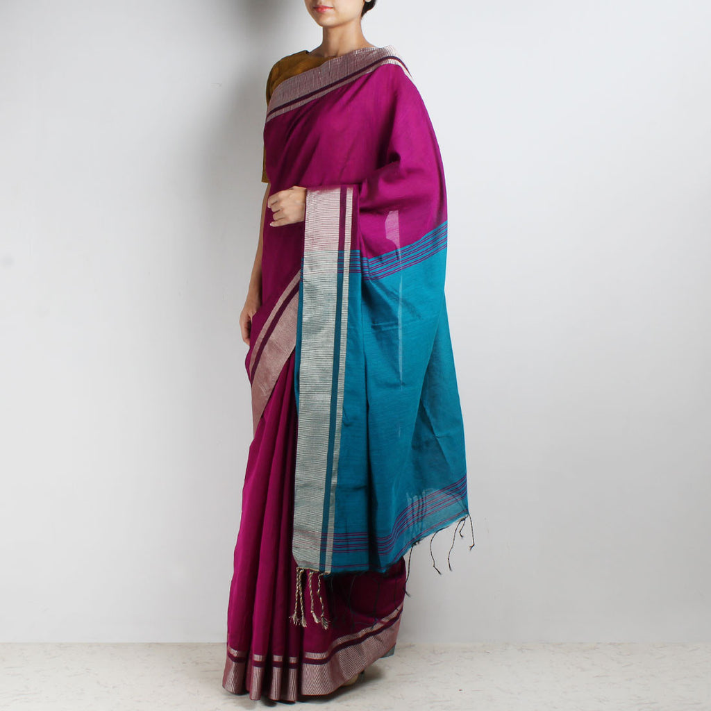Handloom Magenta & Turquoise Border Cotton Saree by Moh!