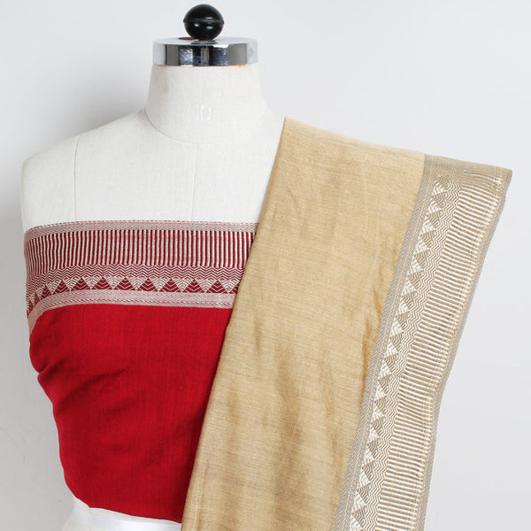 Handloom Biscuit & Red Border Cotton Saree