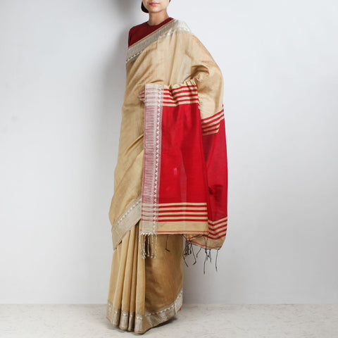Handloom Biscuit & Red Border Cotton Saree by Moh!