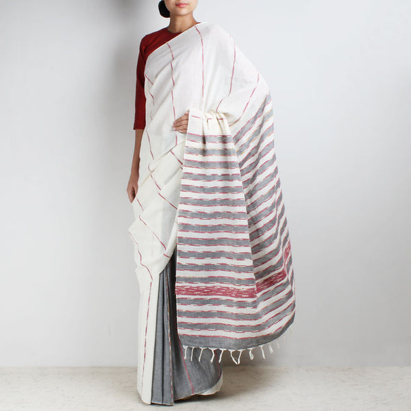 Handloom White-Grey Khesh Cotton Saree by Moh!