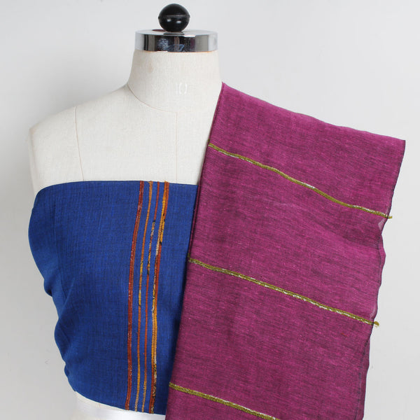 Handloom Purple-Blue Khesh Cotton Saree