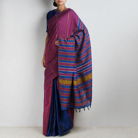 Handloom Purple-Blue Khesh Cotton Saree by Moh!