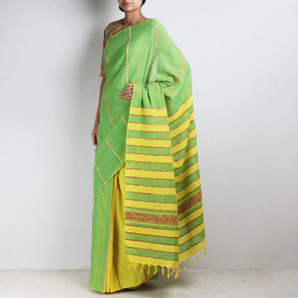 Handloom Green-Yellow Khesh Cotton Saree by Moh!