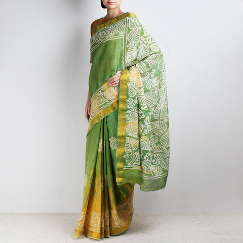 Hand-Batik Yellow-Green Kerala Cotton Saree by Moh!