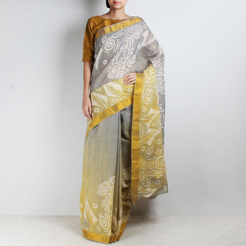 Hand-Batik Yellow-Grey Mulmul Kerala Cotton Saree by Moh!