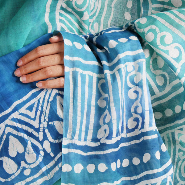 Hand-Batik Blue-Green Mulmul Cotton Saree
