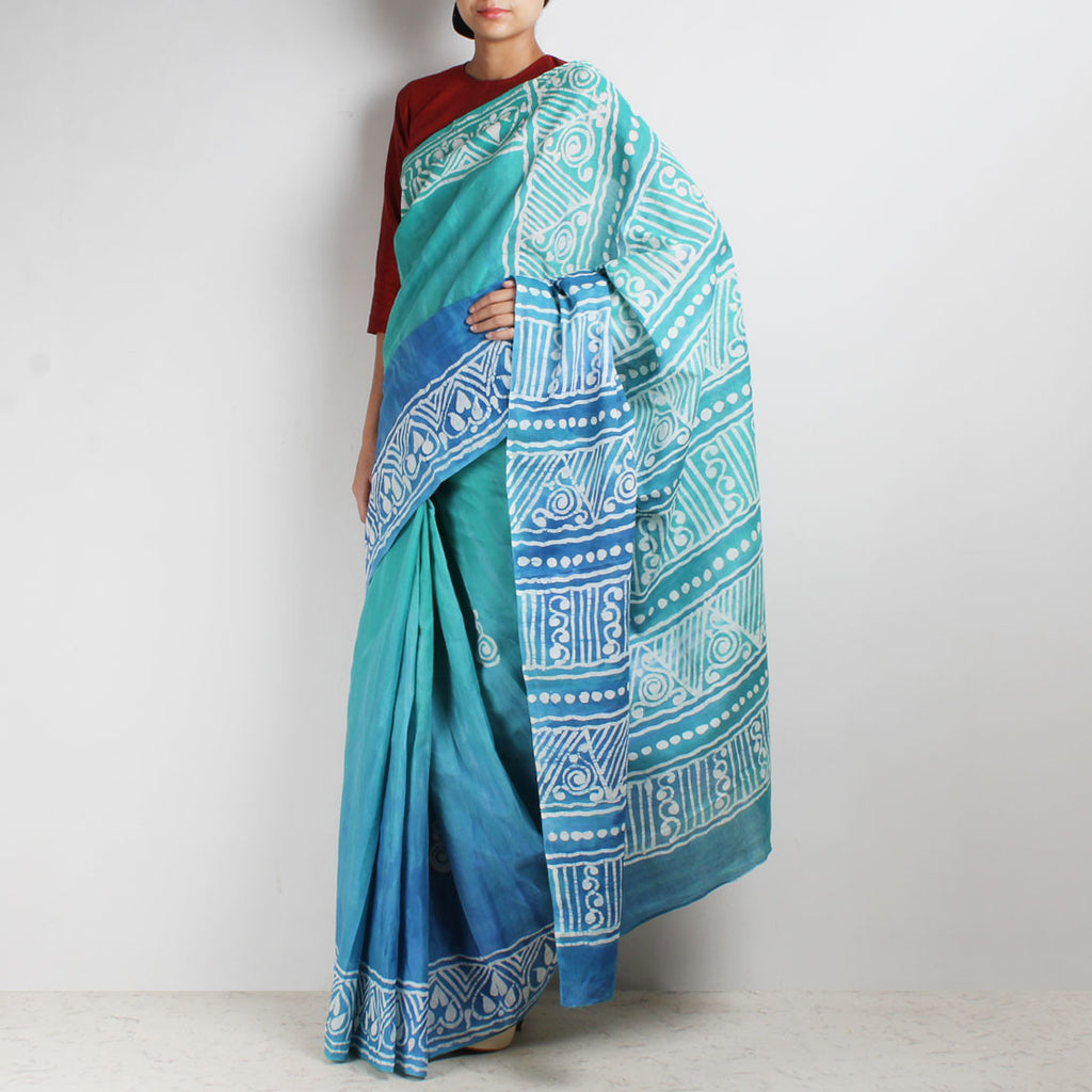 Hand-Batik Blue-Green Mulmul Cotton Saree by Moh!