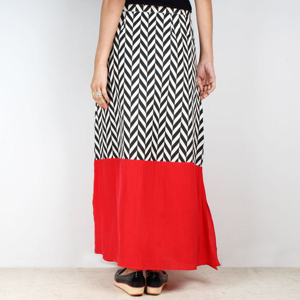 High Waist Chevron Color Block Skirt