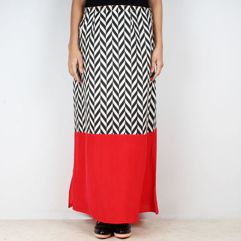 High Waist Chevron Color block Skirt by NAKITA SINGH