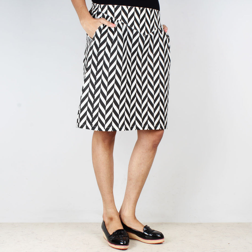 Chevron High Waist Knee Length Skirt by NAKITA SINGH