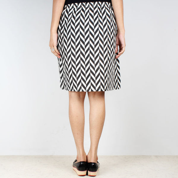 Chevron High Waist Knee Length Skirt