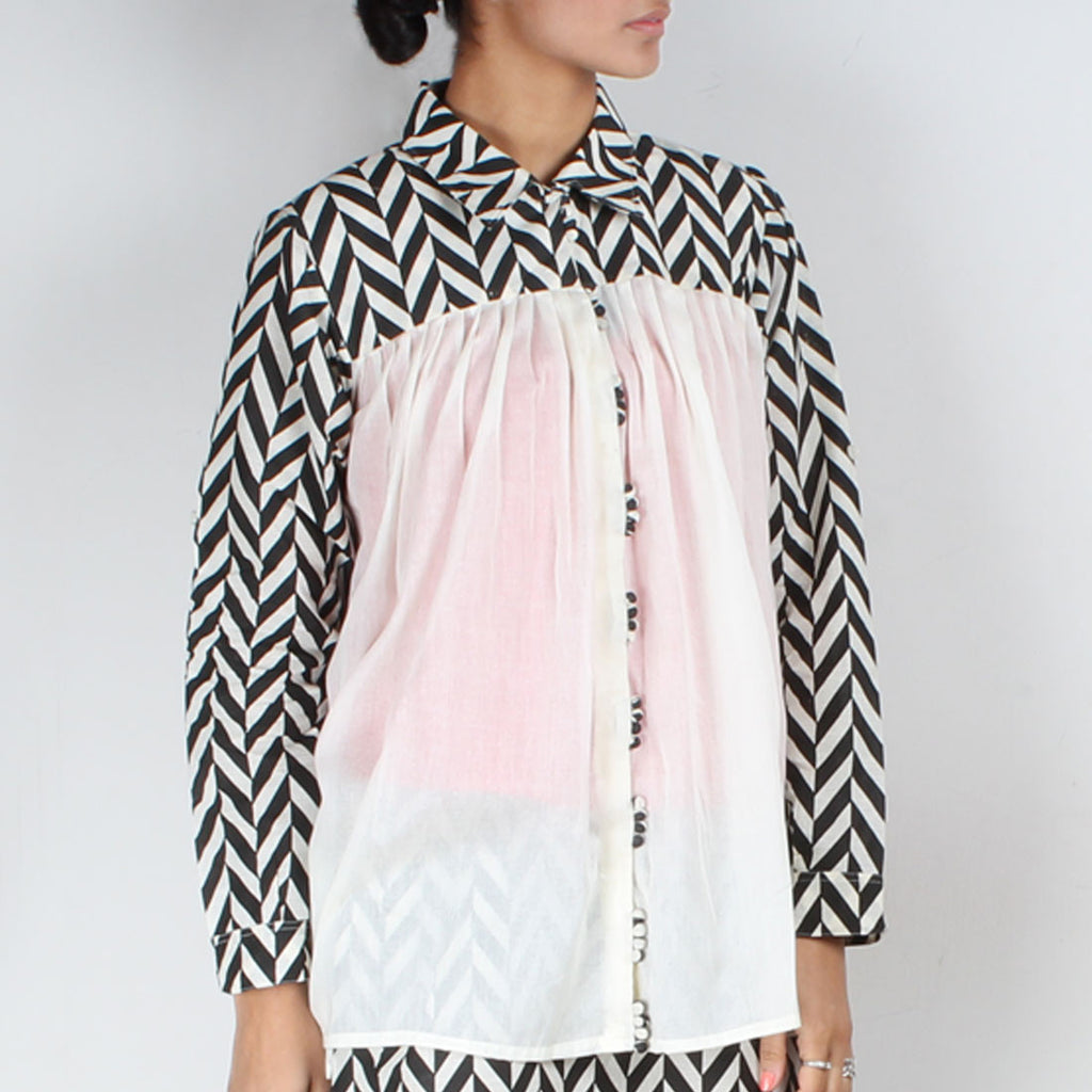 Chevron Gathered Shirt by NAKITA SINGH