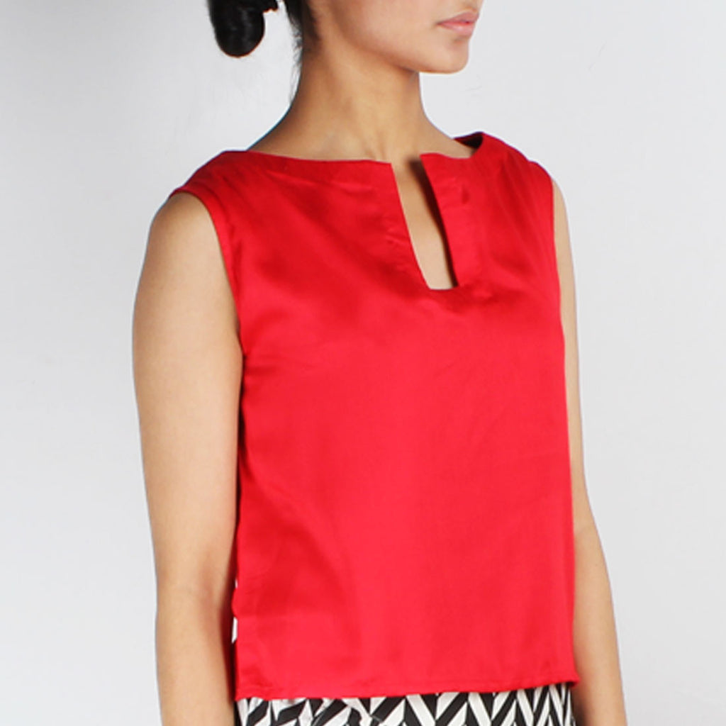 Red Satin Crop Top by NAKITA SINGH