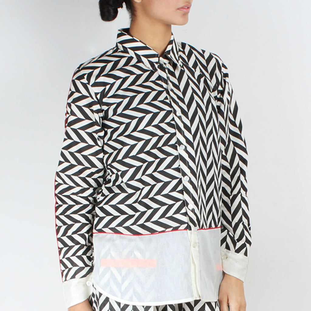 Chevron Cotton Collared Shirt by NAKITA SINGH