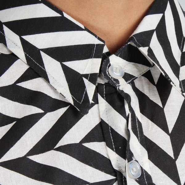 Chevron Cotton Collared Shirt