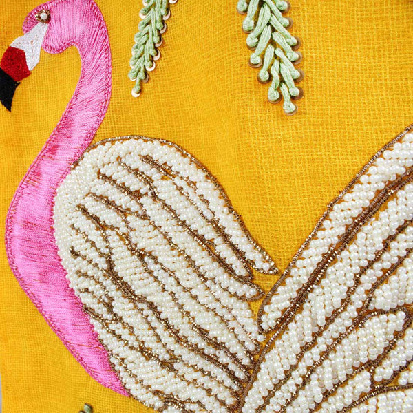 Yellow Twill Flamingo Embroidered Skirt
