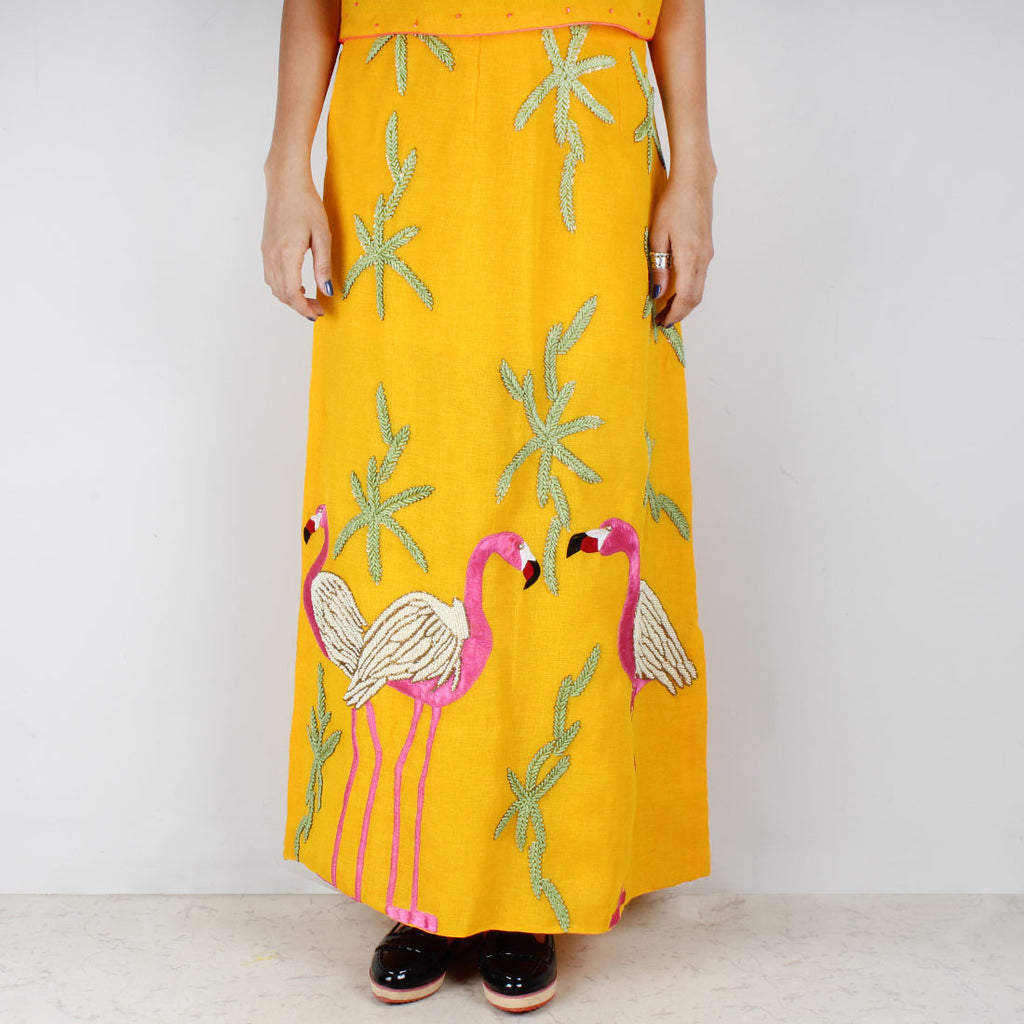 Yellow Twill Flamingo Embroidered Skirt by NAKITA SINGH