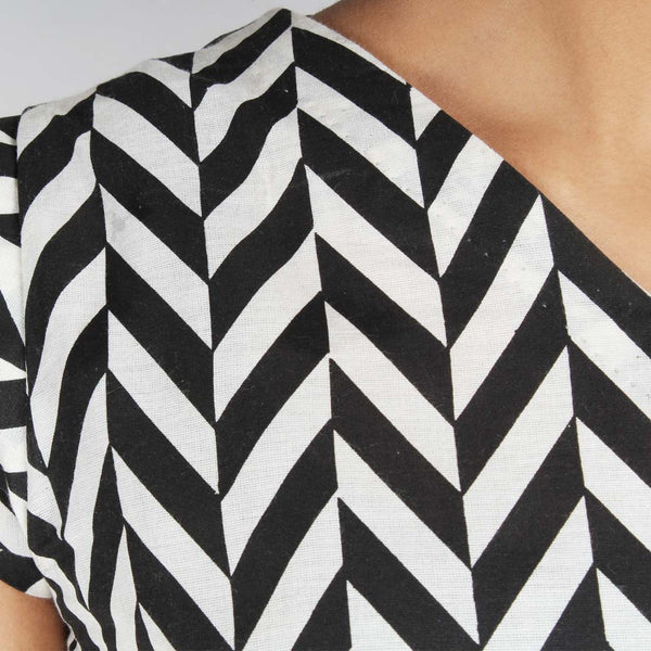Chevron Cap Sleeved Crop Top