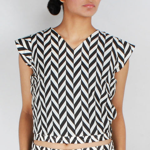 Chevron Cap Sleeved Crop Top by NAKITA SINGH